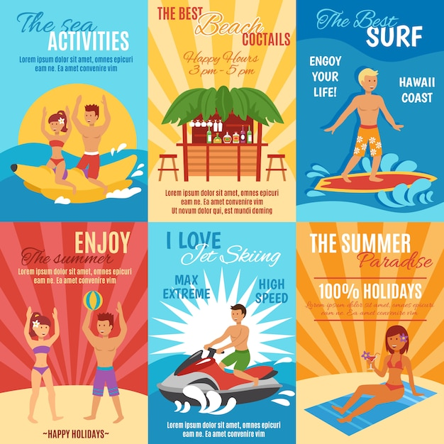Beach poster set Free Vector