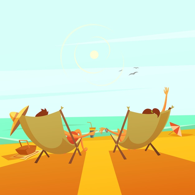 Beach rest background with a couple in chaise lounges at sea Free Vector