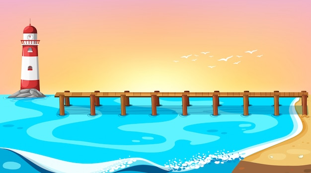 Beach scene with pierbackground Free Vector