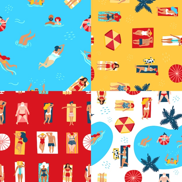 Beach and sea seamless pattern Free Vector