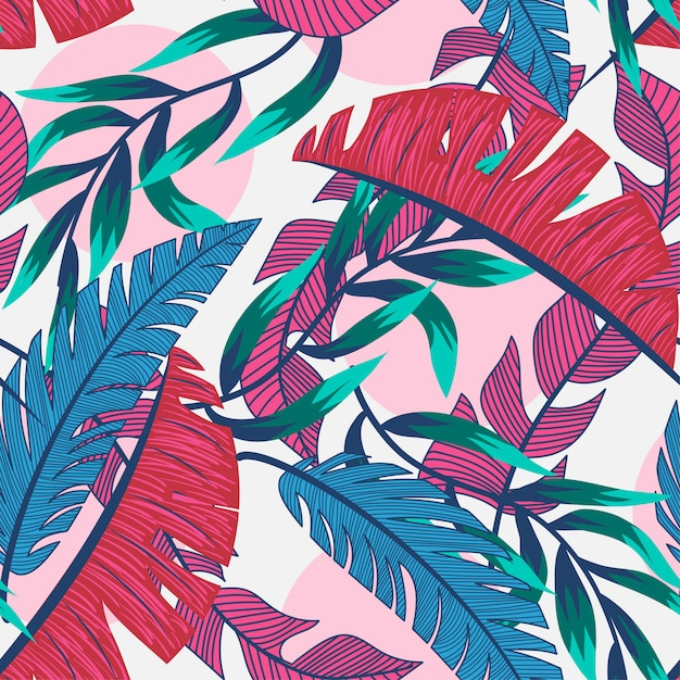 Beach seamless pattern with colorful tropical leaves and plants on a light background Premium Vector