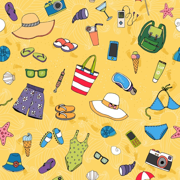 Beach seamless vector pattern with scattered summer icons such as sun hats swimwear  thongs sunglasses ice cream  shells  starfish and cocktails on golden sand conceptual of a summer vacation Free Vector
