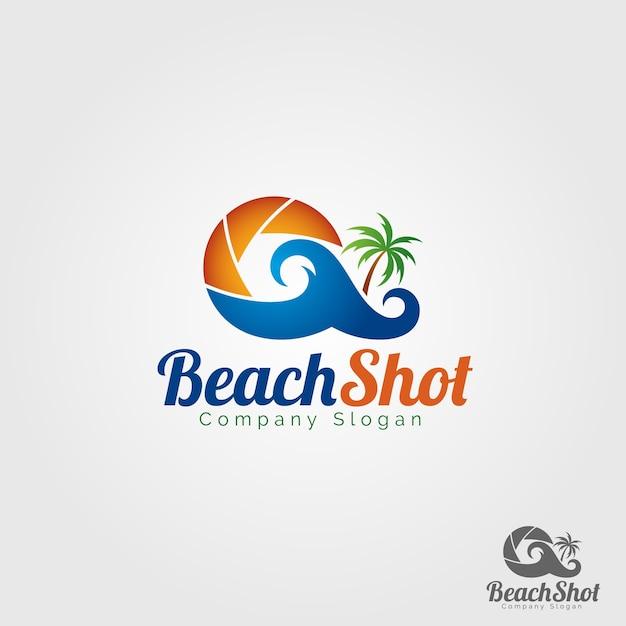 Beach shot photography logo Premium Vector