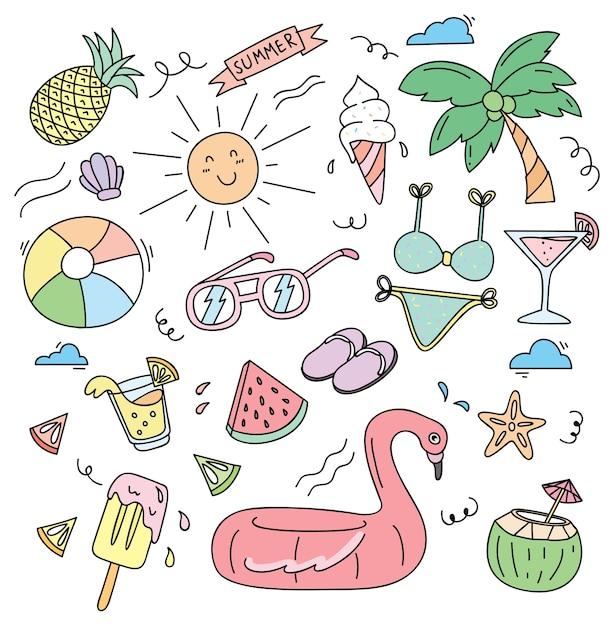 Beach stuff in doodle style vector illustration Premium Vector