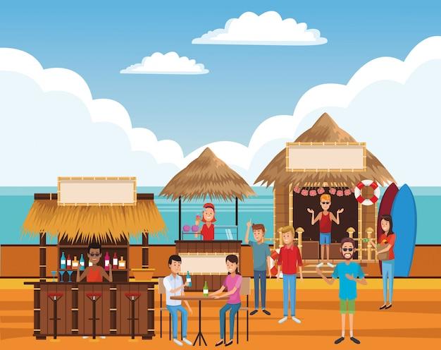 Beach summer cartoon Premium Vector