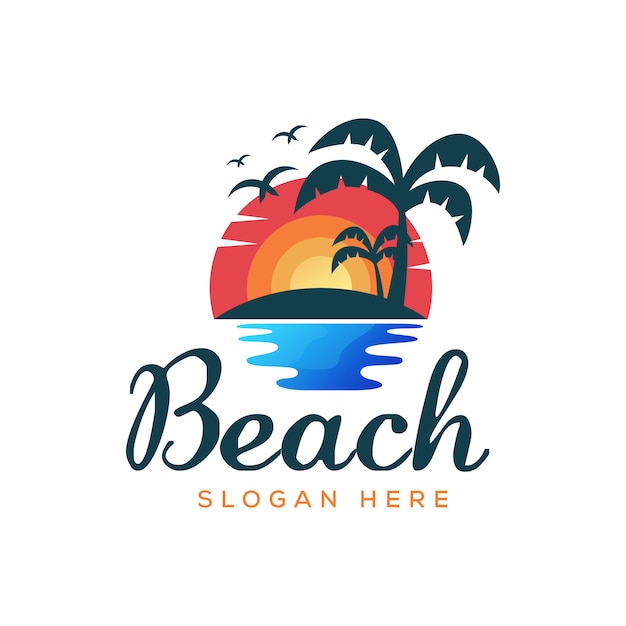 Beach summer logo illustration vector template | Premium ...