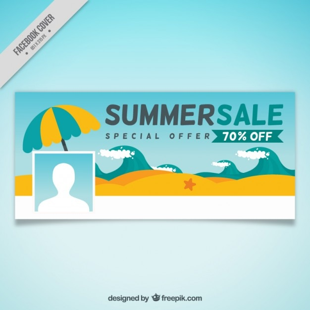 Charming Beach Summer Sale Cover Free Vector