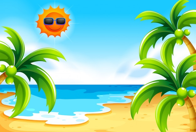 Beach under the sun Free Vector