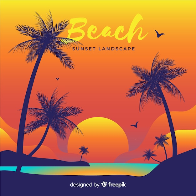 Beach sunset landscape background Free Vector