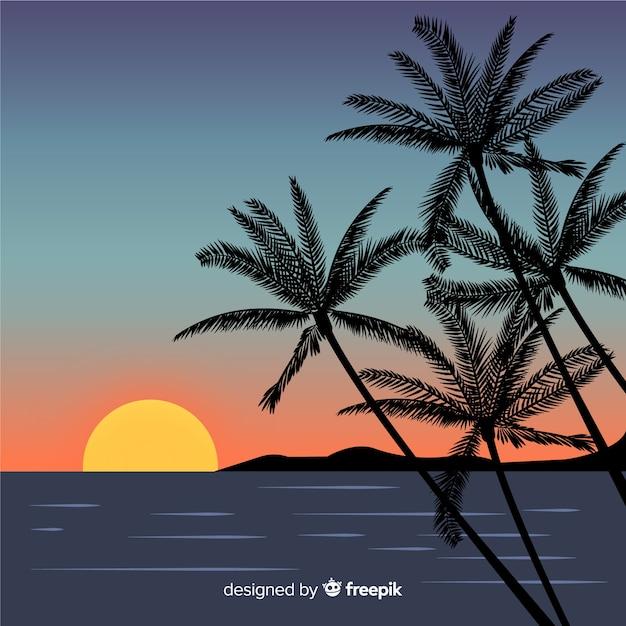 Beach sunset landscape background Free Vector