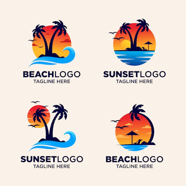 Beach sunset logo Premium Vector