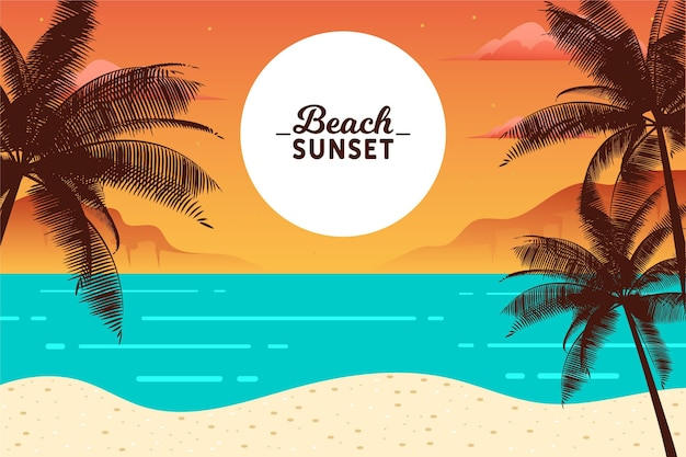 Beach sunset palm silhouettes and ocean waves Free Vector