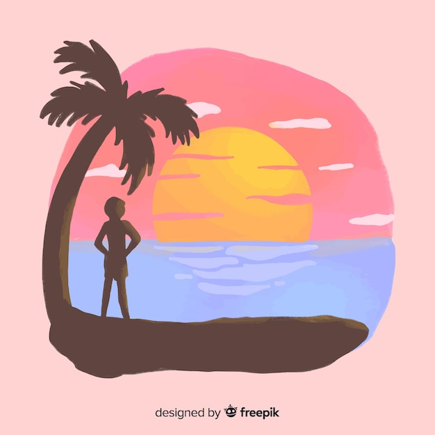Beach sunset sunrise with palm silhouette Free Vector