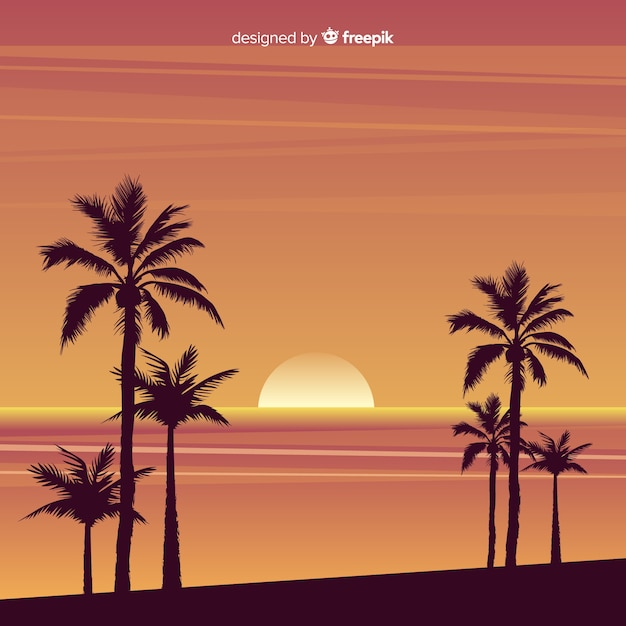 Beach sunset with palm silhouettes Free Vector