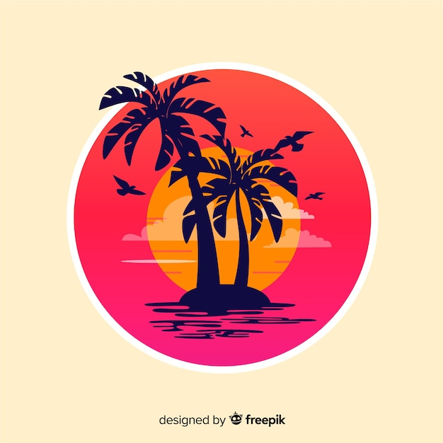 Beach sunset Free Vector