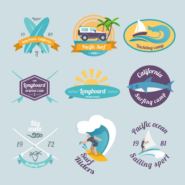 Beach surfing summer yachting labels set\ isolated vector illustration.