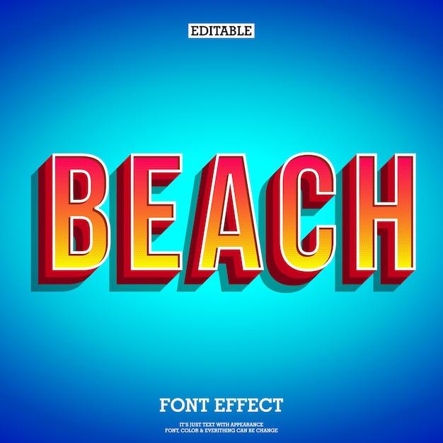 Beach text effect for poster tittle Premium Vector