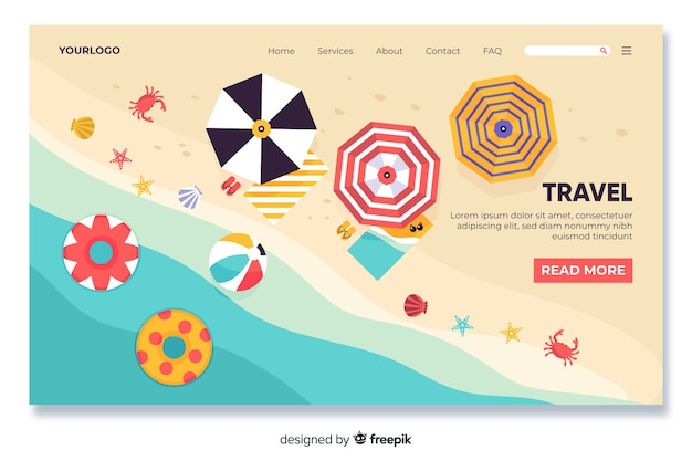 Beach themed travel landing page Free Vector