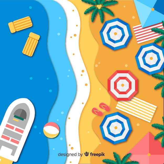 Beach top view in paper style background Free Vector
