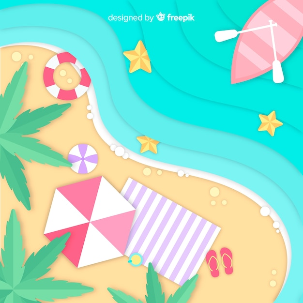beach-top-view-paper-style_23-2148169231