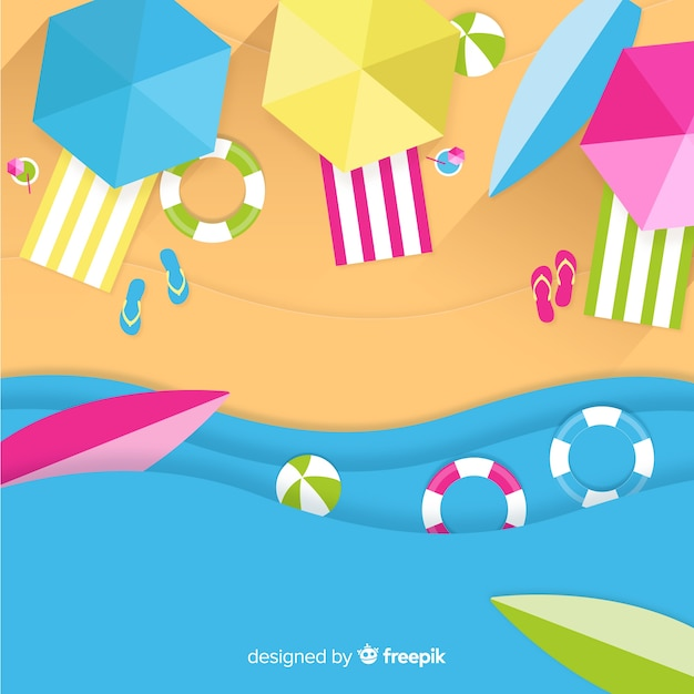 Beach top view in paper style Free Vector