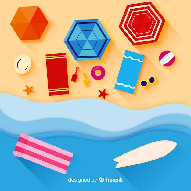 Beach top view paper style Free Vector
