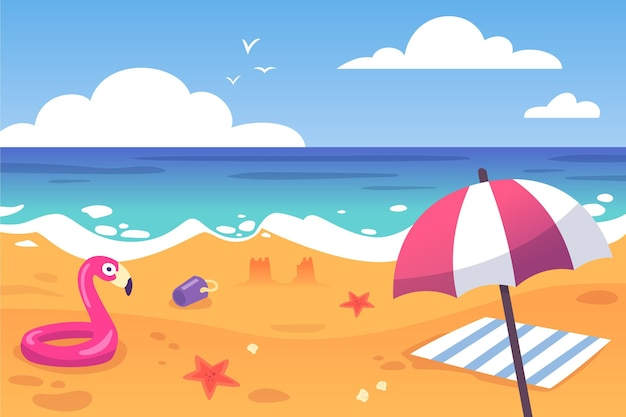 Пляжный зонтик и летнее лето Бесплатные векторы