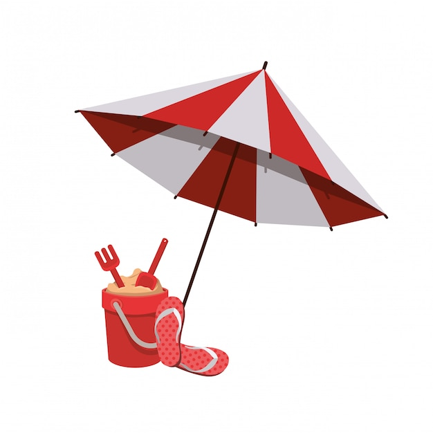 Beach umbrella for summer striped Free Vector