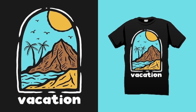 Дизайн футболки для пляжного отдыха Premium векторы