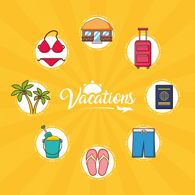 Beach vacations elements Free Vector