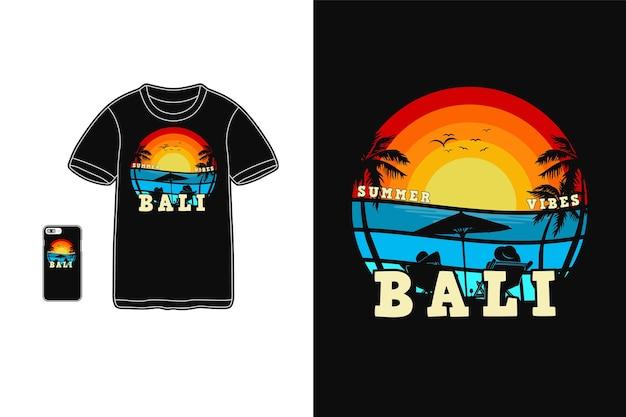 Beach vibes bali design for t shirt silhouette retro style Premium Vector