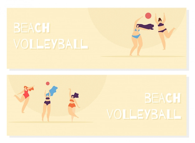 Beach volleyball playing woman body positive. Premium Vector