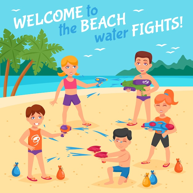 Beach water fights illustration Free Vector