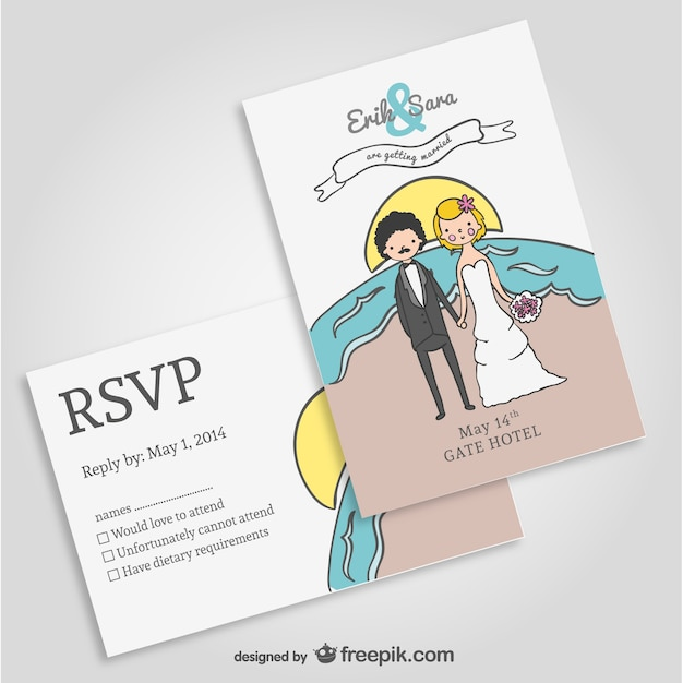 Beach wedding invitation mock-up Free Vector