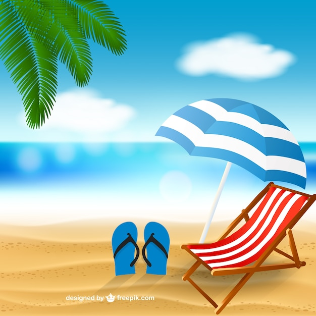 beach with a deck chair vector free download. Black Bedroom Furniture Sets. Home Design Ideas