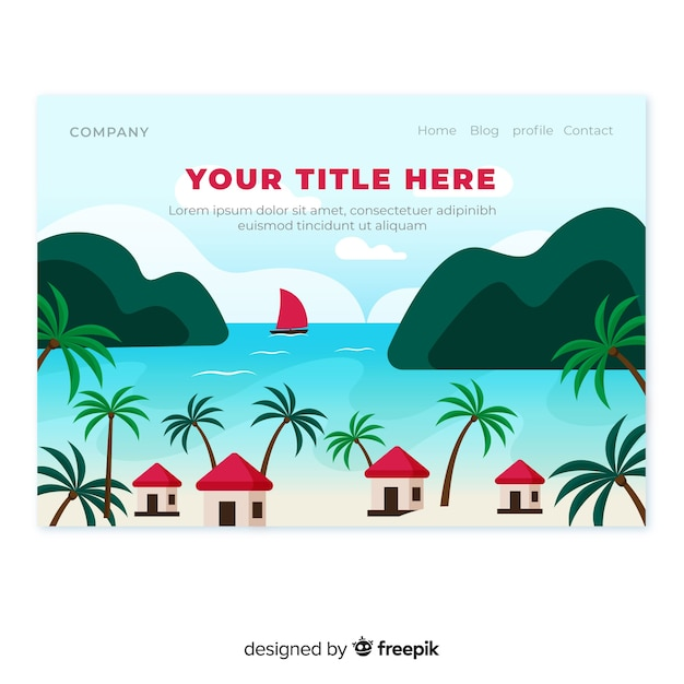 Beach with cabins landing page Free Vector