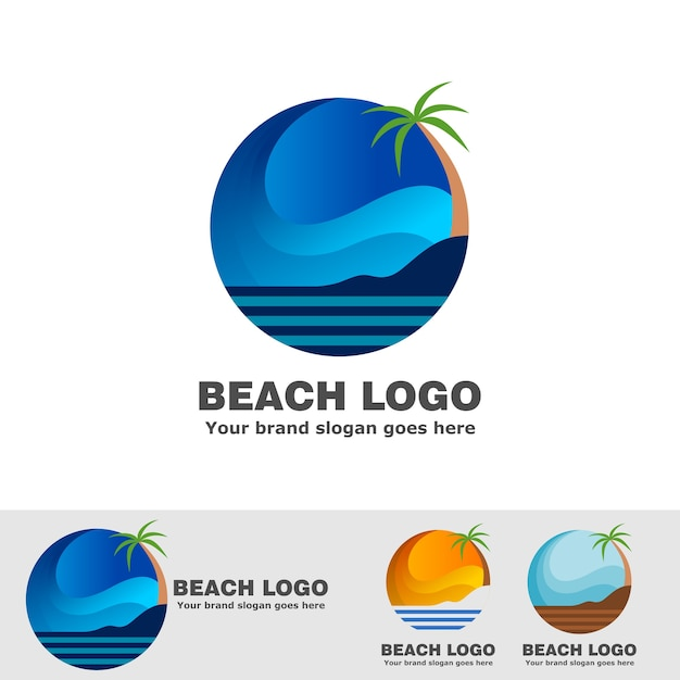 Beach with sky curved and coconut trees Premium Vector