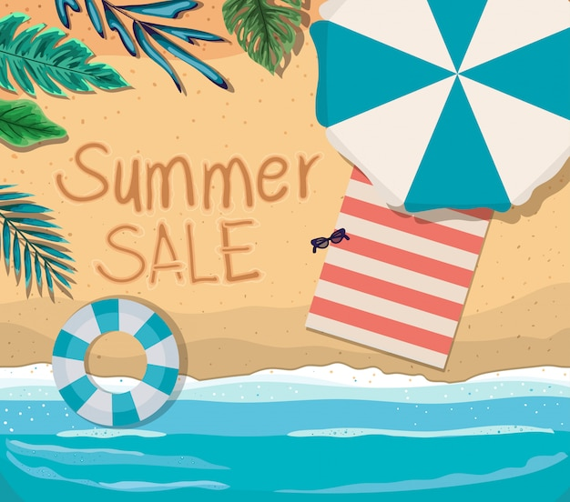 Beach with summer sale text top view design, summer vacation Premium Vector