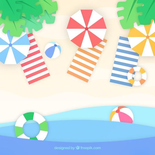 Пляж с видом сверху в стиле бумаги Бесплатные векторы