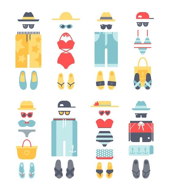 Beachwear different flat vector summer, beachwear cloth fashion looks. Premium Vector