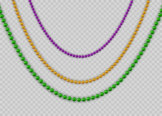 Beads for mardi gras for decoration concept. Premium Vector