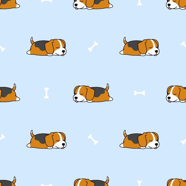 Beagle puppy sleeping with bone seamless pattern Premium Vector