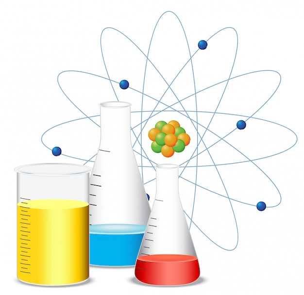 Beakers filled with colorful liquid Free Vector