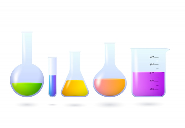 Beakers and flasks with chemical set Free Vector