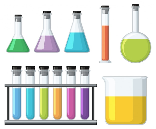 Beakers with colorful liquid Free Vector