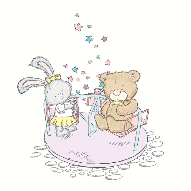 Медведь и зайчик катаются на карусели. Premium векторы