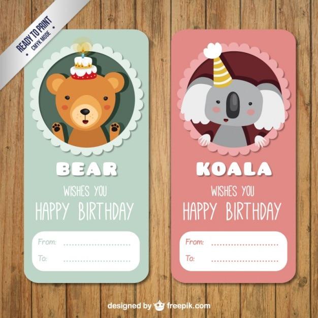 Bear And Koala Birthday Labels PAck Vector