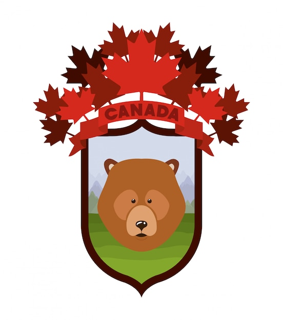 Bear animal and pine trees Free Vector