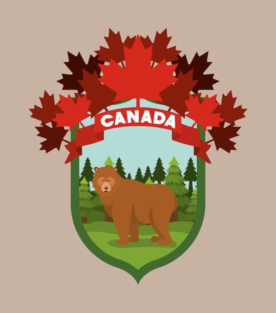Bear animal and pine trees Free Vector