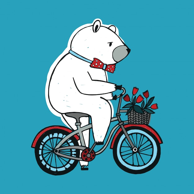 The bear on the bicycle with basket and flowers. Premium Vector